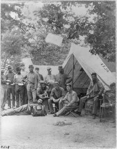 Group of 8th New York State Militia in front of tent, Arlington, Virginia, June 1861