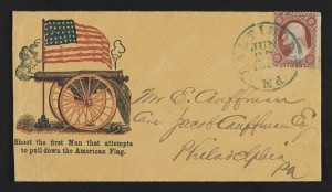 "Civil War envelope showing American flag and cannon with message ""Shoot the first man that attempts to pull down the American flag"" (between 1861 and 1865; LOC - LC-DIG-ppmsca-31705 )"