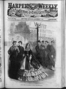 A female rebel in Baltimore - an everyday scene (Harper's Weekly, (1861 Sept. 7); LOC - LC-USZ62-87801)