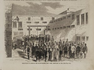 Execution of Gordon the slave-trader, New York, February 21, 1862 (Illus. in: Harper's weekly, v. VI, no. 271 (1862 March 8), p. 157 (bottom); LOC: LC-DIG-ds-00692)