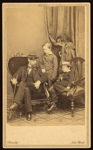 Willie and Tad Lincoln, sons of President Abraham Lincoln, with their cousin Lockwood Todd (1861; LOC: LC-DIG-ppmsca-19235)