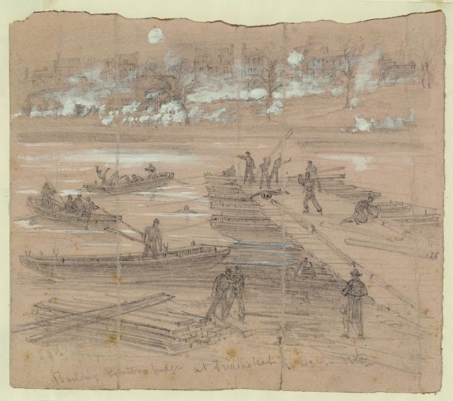 Building pontoon bridges at Fredericksburg Dec. 11th. (by Alfred R. Waud 12-11-1862; LOC: LC-DIG-ppmsca-21209)