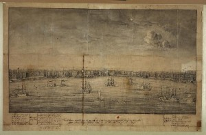 New Orleans, sketched from the opposite side of the river upon a mast of a vessel during a very low water (S.Pinistri - artist;1839 Oct; LOC: LC-DIG-ppmsca-23151)