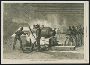 Intérieur de la batterie du Merrimac, pendant le combat avec le Monitor (Interior of the Merrimac showing Confederate sailors loading cannon, during combat with the Monitor. between 1862 and 1865; LOC: LC-DIG-ppmsca-31278)
