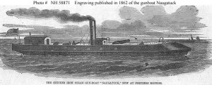 "USS Naugatuck (1862) (Line engraving published in ""Harper's Weekly"", circa spring 1862, when the gunboat was operating in the Hampton Roads area, Virginia.  U.S. Naval Historical Center Photograph.)"