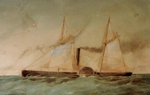 USS Octorara (1862-1866)  Watercolor by Alex Stuart.  Courtesy of the Navy Art Collection, Washington, DC.  U.S. Naval Historical Center Photograph.