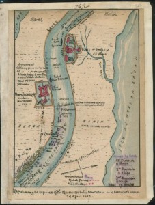 Map showing the defenses of the Mississippi below New Orleans and Farragut's attack 24 April 1862.  by Robert Knox Sneden