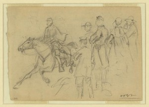 The C. de Paris riding into Yorktown with the first clear account of affairs at Williamsburg (by Alfred R. Waud, 1862 May 5; LOC: LC-DIG-ppmsca-20388)