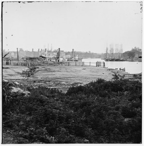 Richmond, Virginia. Wharf at Rocketts (1865 Apr; LOC: LC-DIG-cwpb-02717)