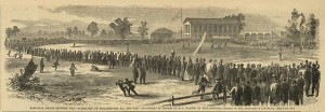 "Base-ball match between the ""Athletics"", of Philadelphia, Pa., and the ""Atlantics"", of Brooklyn, N.Y., played at Philadelphia, October 30, 1865 (1865 November 18;LOC: LC-DIG-ppmsca-17532)"