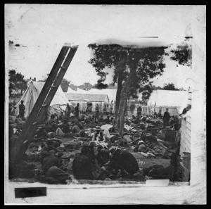 Savage Station, Va. Field hospital after the battle of June 27(1862 June 30 by James F. Gibson; LOC: LC-DIG-cwpb-01063)