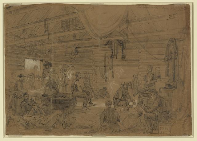Skedaddlers Hall, Harrisons Landing (1862 July 3; LOC: LC-DIG-ppmsca-22394)