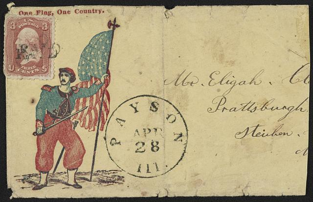 "Civil War envelope showing Elmer Ellsworth with sword, pistol, and American flag with message ""One flag, one country (between 1861 and 1865; LOC: LC-DIG-ppmsca-31963)"