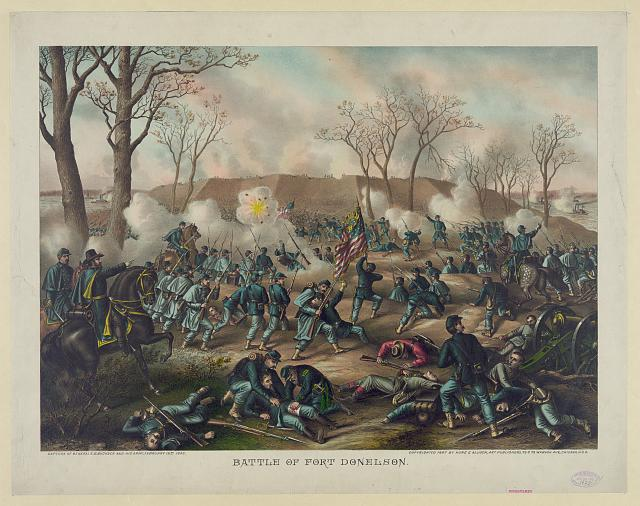 Battle of Fort Donelson--Capture of Generals S.B. Buckner and his army, February 16th 1862 (c1887. by Kurz & Allison; LOC: LC-DIG-pga-01849)