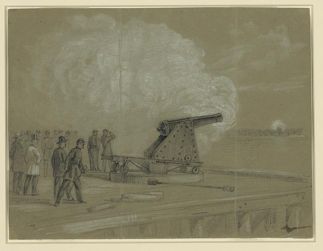 Scene on the dock at the Rip Raps. Testing the Sawyer gun and projectile, a shell bursting on the rebel batteries at Sewells Point (1861 August? by Alfred R. Waud; LOC: LC-DIG-ppmsca-21206)