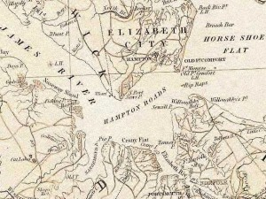 Hampton Roads, Virginia - from official state map published in 1859