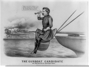 The gunboat candidate at the Battle of Malvern Hill (Currier & Ives, 1864; LOC: LC-USZ62-92038)