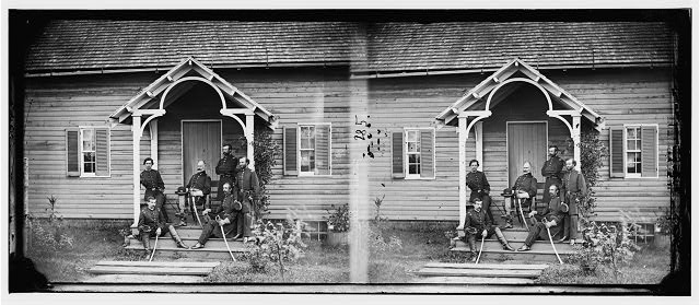Culpeper, Virginia. General Marsena R. Patrick (Provost General, Army of the Potomac) and staff (by Timothy H. O'Sullivan, 1863 Nov; LOC:  LC-DIG-cwpb-00091)