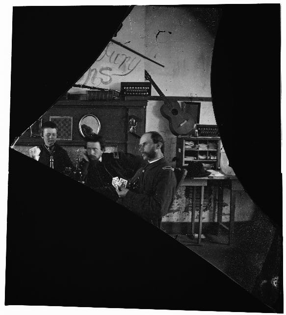 [Quarters of Dr. David McKay (Army of the James), interior view withi men playing cards] (between 1861 and 1865; LOC: LC-DIG-cwpb-03634)