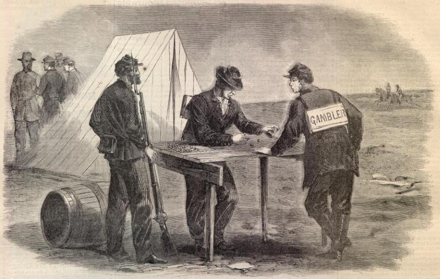 gambling (by Alfred R. Waud, Harper's Weekly, November 7, 1863)