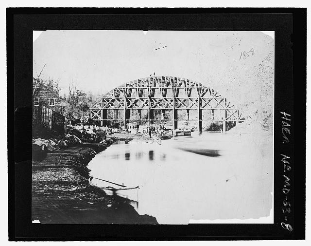 VIEW OF FALSEWORK DURING CONSTRUCTION, 1858 - Cabin John Aqueduct Bridge, MacArthur Boulevard, spanning Cabin John Creek at Parkway, Cabin John, Montgomery County, MD (1858; LOC: HAER MD,16-CABJO,1--8)