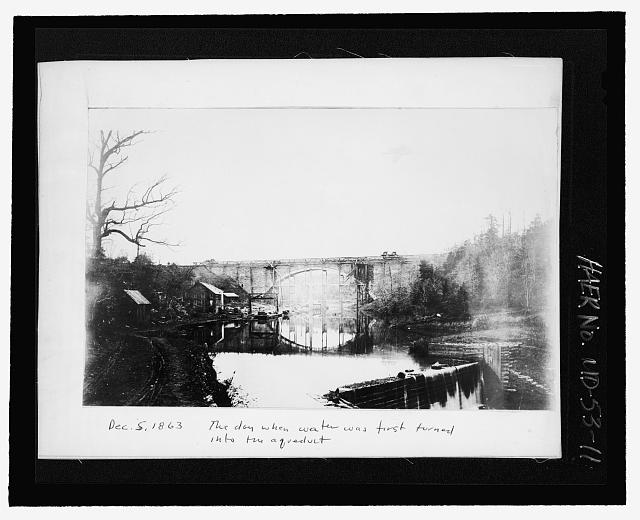 THE DAY WHEN THE WATER WAS FIRST TURNED ON IN THE AQUEDUCT, DECEMBER 5, 1863 - Cabin John Aqueduct Bridge, MacArthur Boulevard, spanning Cabin John Creek at Parkway, Cabin John, Montgomery County, MD (1863; LOC: HAER MD,16-CABJO,1--11)