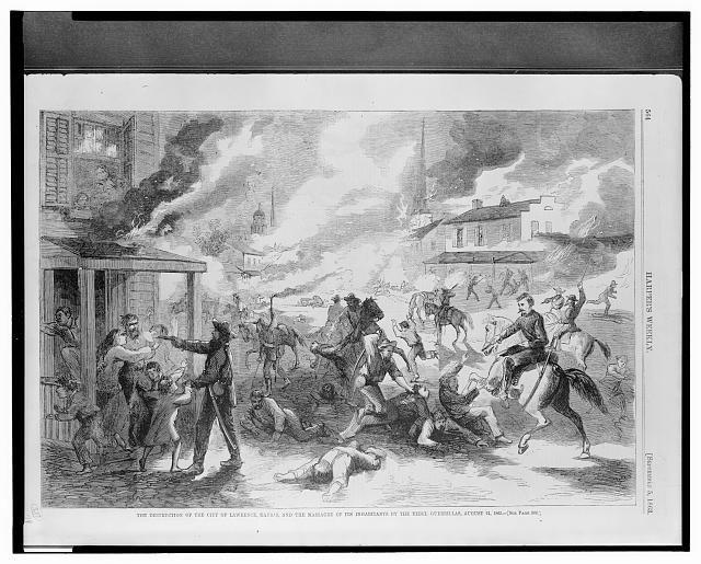 The destruction of the city of Lawrence, Kansas, and the massacre of its inhabitants by the Rebel guerrillas, August 21, 1863 (1863; LOC:  LC-USZ62-134452)