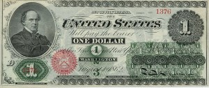 Obverse of the first official $1 bill of the United States in 1862 as a Legal Tender Note