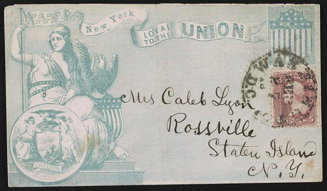 "[Civil War envelope showing Columbia, eagle, shield, state seal of New York, and banner with message ""New York loyal to the Union""] (between 1861 and 1865; LOC: LC-DIG-ppmsca-34646)"