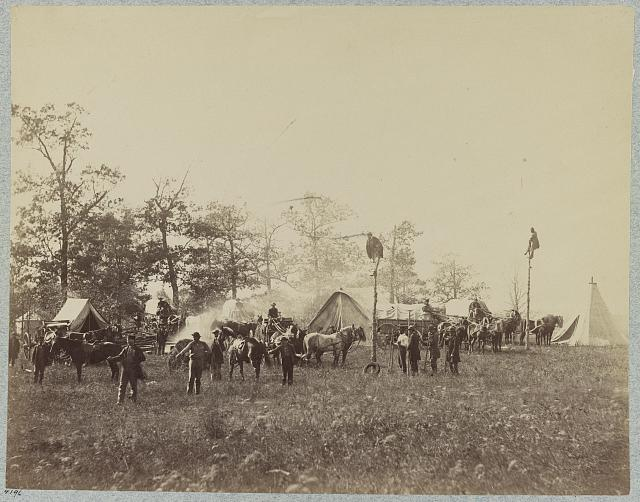 Military telegraph construction corps (by Alexander Gardner, April 1865; LOC: LC-DIG-ppmsca-33168)