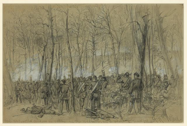 Genl. Wadsworths division in action in the Wilderness, near the spot where the General was killed (by Alfred R. waud, May 5-7, 1864; LOC: LC-DIG-ppmsca-20999)