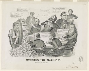 """Running the """"machine"""" (Published by Currier & Ives, 152 Nassau St. N.Y., c1864; LOC: LC-USZ62-9407)"""