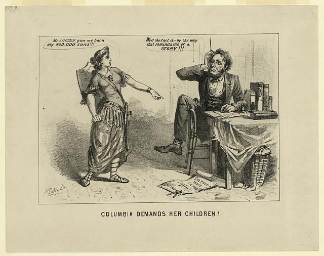 Columbia demands her children! (Published in: American political prints, 1766-1876 / Bernard F. Reilly. Boston : G.K. Hall, 1991, entry 1864-34.; LOC: LC-DIG-ppmsca-15768)