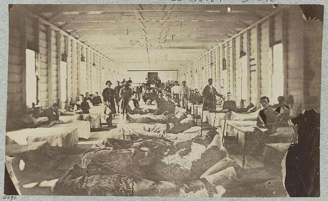 A ward in hospital at convalescent camp near Alexandria, Va. (photographed July, 1864, printed between 1880 and 1889; LOC: LC-DIG-ppmsca-33646)