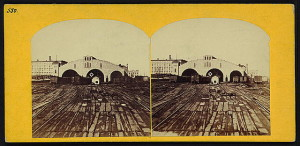 Depot of the Ill. Central RR Chicago, Illinois (by Samuel Fisher Corlies, 1863; LOC: LC-DIG-stereo-1s01449)