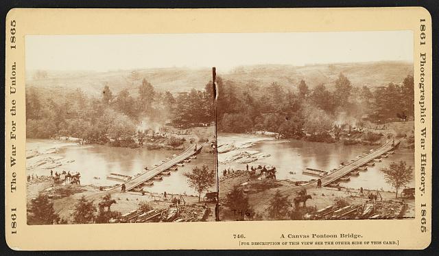A canvas pontoon bridge (