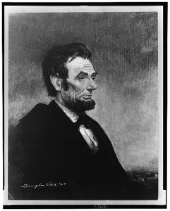 Abraham Lincoln, head-and-shoulders portrait, seated, facing right (by Douglas Volk, 4-24-1922; LOC:  LC-USZ62-130959)
