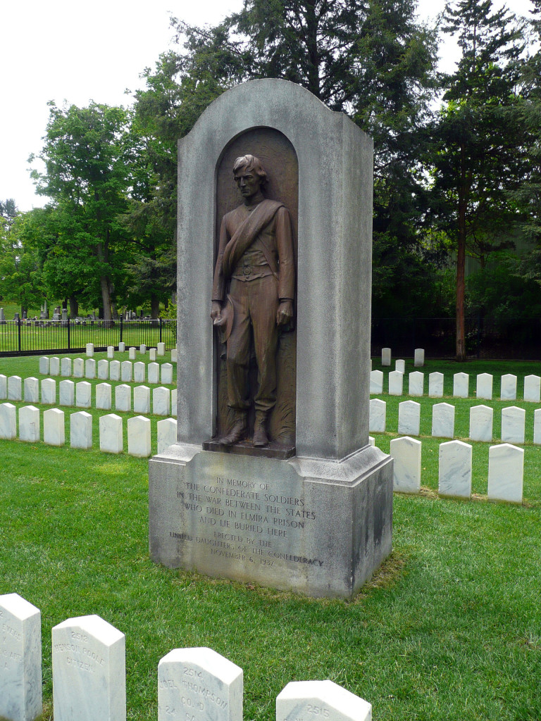 Monument to Confederate dead at Woodlawn Cemetery, Elmira, NY. Photo by Hal Jespersen, May 2010.