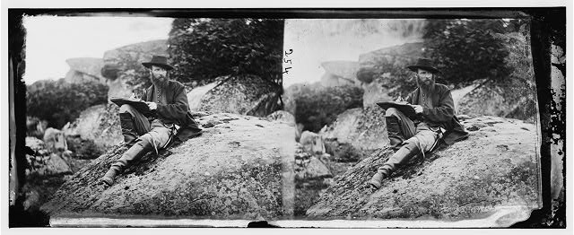 Gettysburg, Pa. Alfred R. Waud, artist of Harper's Weekly, sketching on battlefield (by Timothy H. O'Sullivan, July 1863; LOC:  LC-DIG-cwpb-00074)