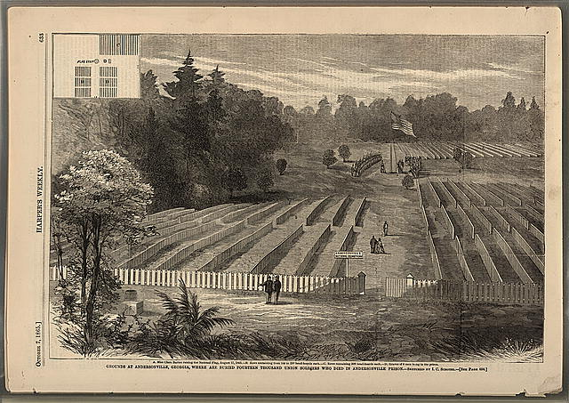 Grounds at Andersonville, Georgia, where are buried fourteen thousand Union soldiers, who died in Andersonville Prison (Harper's weekly, 1865 Oct., p. 633; LOC: LC-DIG-ppmsca-05602)