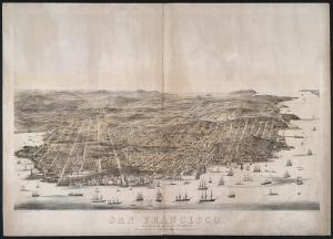 San Francisco. Bird's-eye view ( S.F. : Published by Robinson & Snow, c1864 (S.F. : Printed by L. Nagel); LOC: LC-DIG-ppmsca-08305)