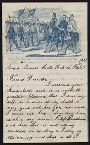 Letter from J. Hartwell Keyes to Diantha from Halls Hill, Virginia, on pictorial lettersheet ( 1862 June 2; LOC: LC-DIG-ppmsca-34611)