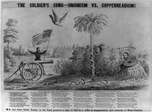 The soldier's song--Unionism vs. Copperheadism (n the year 1864, by Smith & Swinney; LOC: C-USZ62-9637)