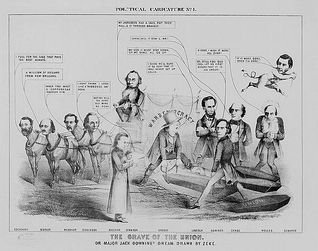 Political caricature. No. 1, The grave of the Union. Or Major Jack Downing's dream (New York : Published by Bromley & Co., 1864; LOC:  LC-USZ62-8876)