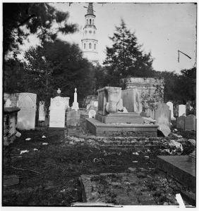 Charleston, South Carolina. Ruins of bombarded graveyard (1865; LOC: LC-DIG-cwpb-02406)