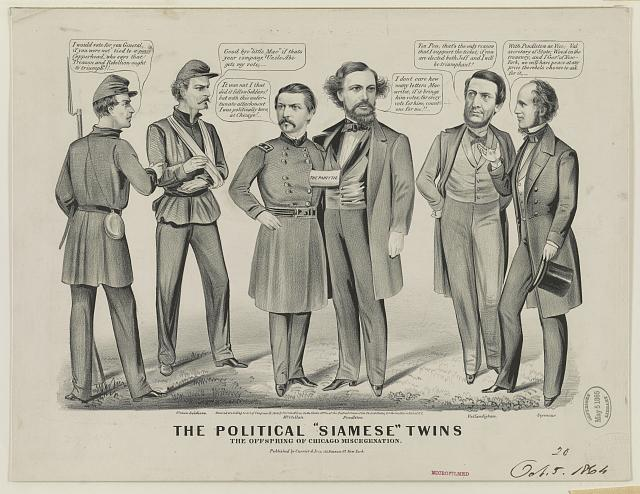 """The political """"Siamese"""" twins, the offspring of Chicago miscegenation ([New York] : Published by Currier & Ives, 152 Nassau St. New York, c1864.; LOC: LC-USZ62-9733)"""