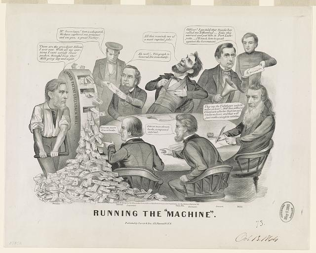 """Running the """"machine"""" (by John Cameron, [New York] : Published by Currier & Ives, 152 Nassau St. N.Y., c1864; LOC: LC-USZ62-9407)"""