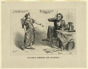 Columbia demands her children! (by Joseph Baker, 1864; LOC: LC-DIG-ppmsca-15768)