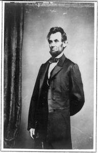 Three-quarter length portrait of Presidenet Abraham Lincoln standing (1864 Jan. 8; printed later between 1885 and 1911; LOC:  LC-USZ62-8047)
