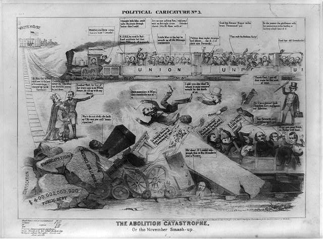 Political caricature. No. 3, The abolition catastrophe. Or the November smash-up (1864 by Bromley & Co. New York; LOC: LC-USZ62-10483)